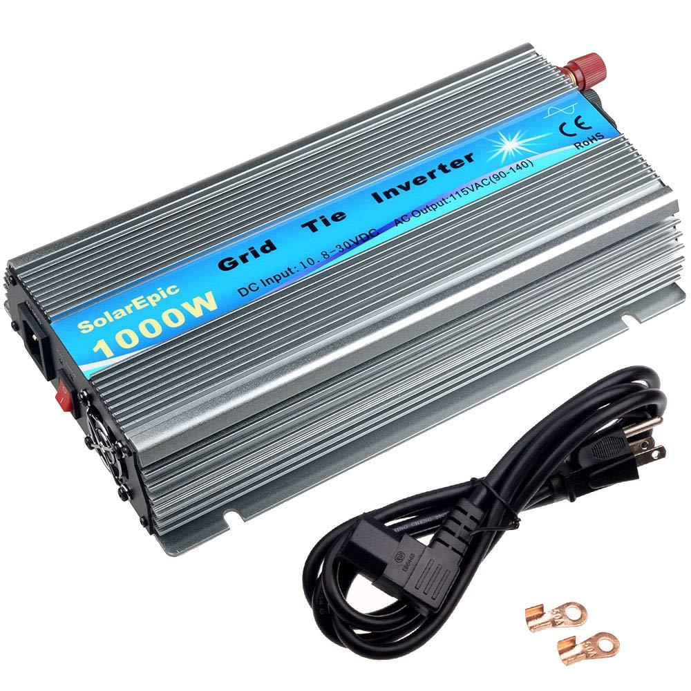 SolarEpic 1000W Grid Tie Inverter MPPT Stackable Pure Sine Wave 10.8-30V Solar Input 90V-140V Output Fit for 12V Solar Panel