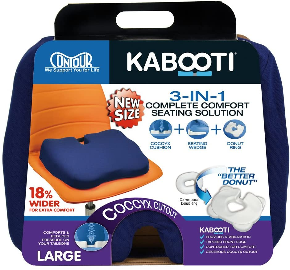 Contour Products Kabooti Coccyx Foam Seat Cushion, Navy, Large: Furniture & Decor