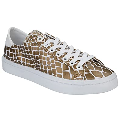 super popular dad8a 7a88c adidas Originals Womens Court Vantage Snake Skin Trainers - 5.5US White,  Gold