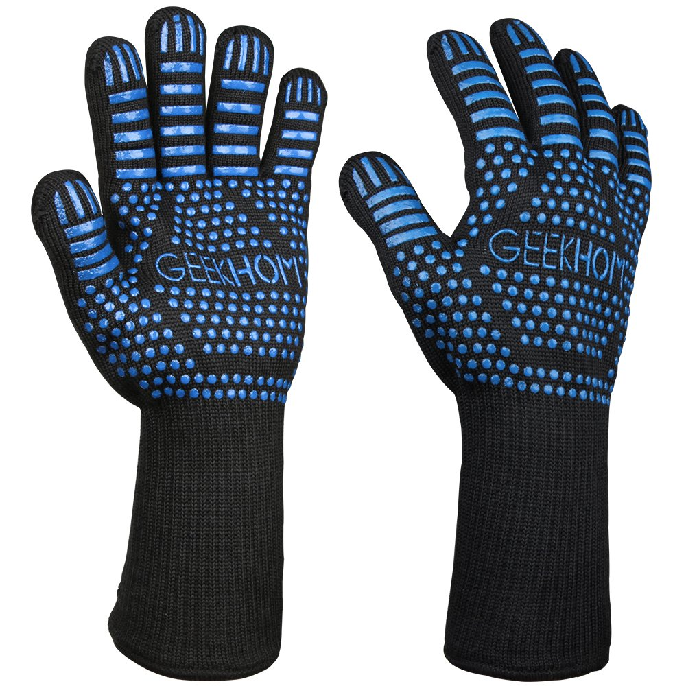 BBQ Gloves, GEEKHOM 932℉ Heat Resistant Oven Mitts 14