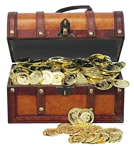 Treasure Chest >> Amazon Com Faux Leather Pirate Treasure Chest With 144 Coins Toys