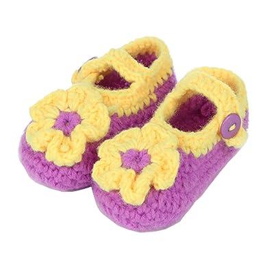Baby Newborn Toddler Infant Prewalker girls flower Hand-knitted Wool Crochet Crib Shoes