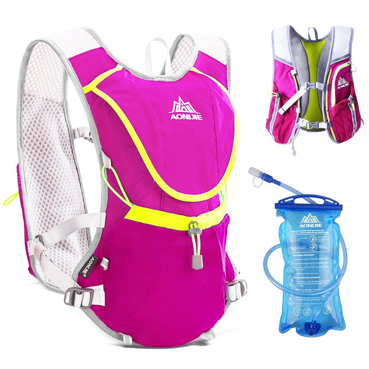 jeelad Running Hydration PackバックパックHydration Vest forマラソンランニングRaceサイクリング B071JYD8XY Rose Red (8L) with 2 Soft Water Bottles