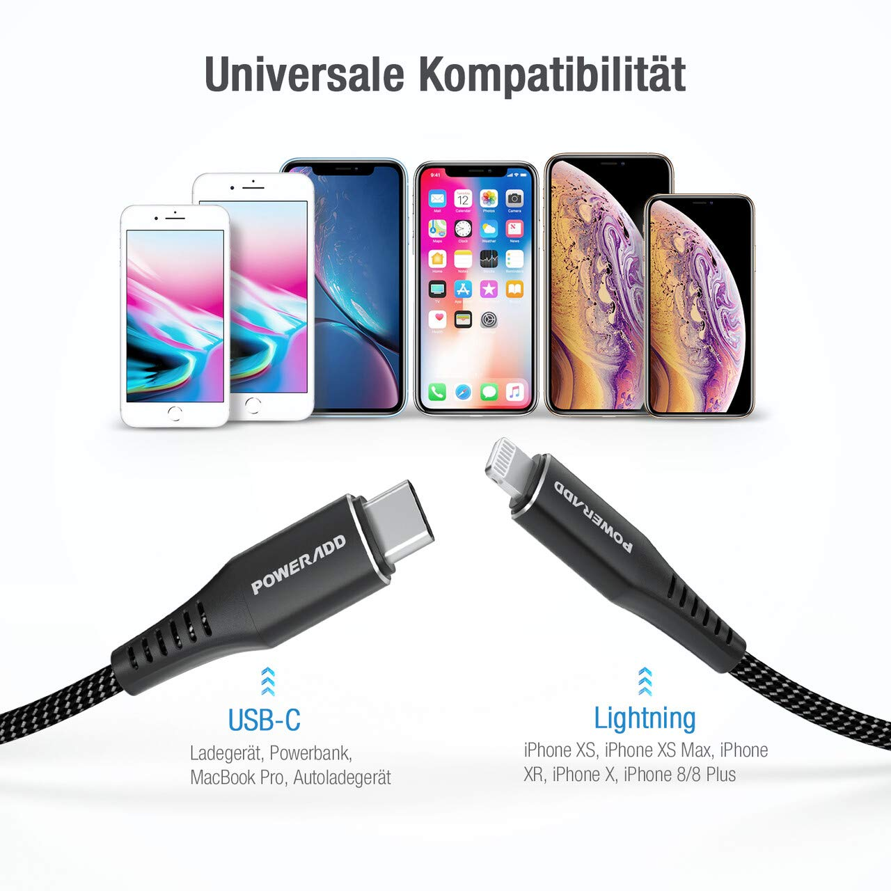 POWERADD USB C auf Lightning Kabel, 1 m Typ C Lightning Ladekabel mit Apple MFi-Zertifiziert, Power Delivery Schnellladen, Nylon-umflochtenes Datenkabel für iPhone und Typ-C Ladegeräte