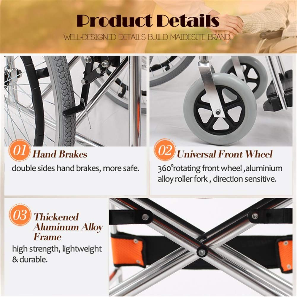 Amazon.com: Silla de ruedas manual plegable y ligera, tamaño ...