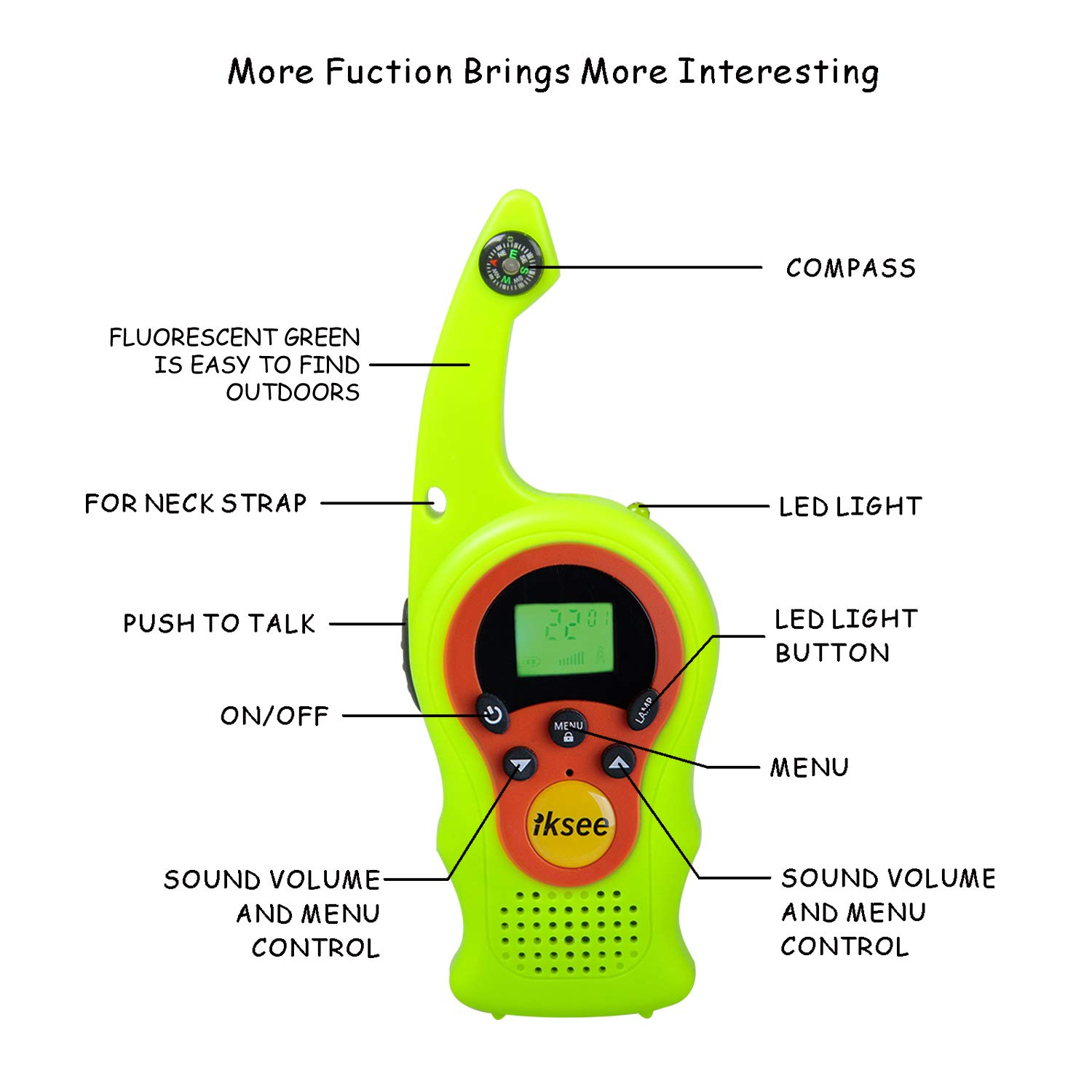 iKsee 2019 Must-Have Dung Beetle Walkie Talkie Set for Adults and Kids with Compass Flashlight, 3+ Mile Long Range Two Way Radios Toys Gifts for 5-12 Boys Girls Awards and Family Games (Green,1 Pair) by iKsee (Image #2)