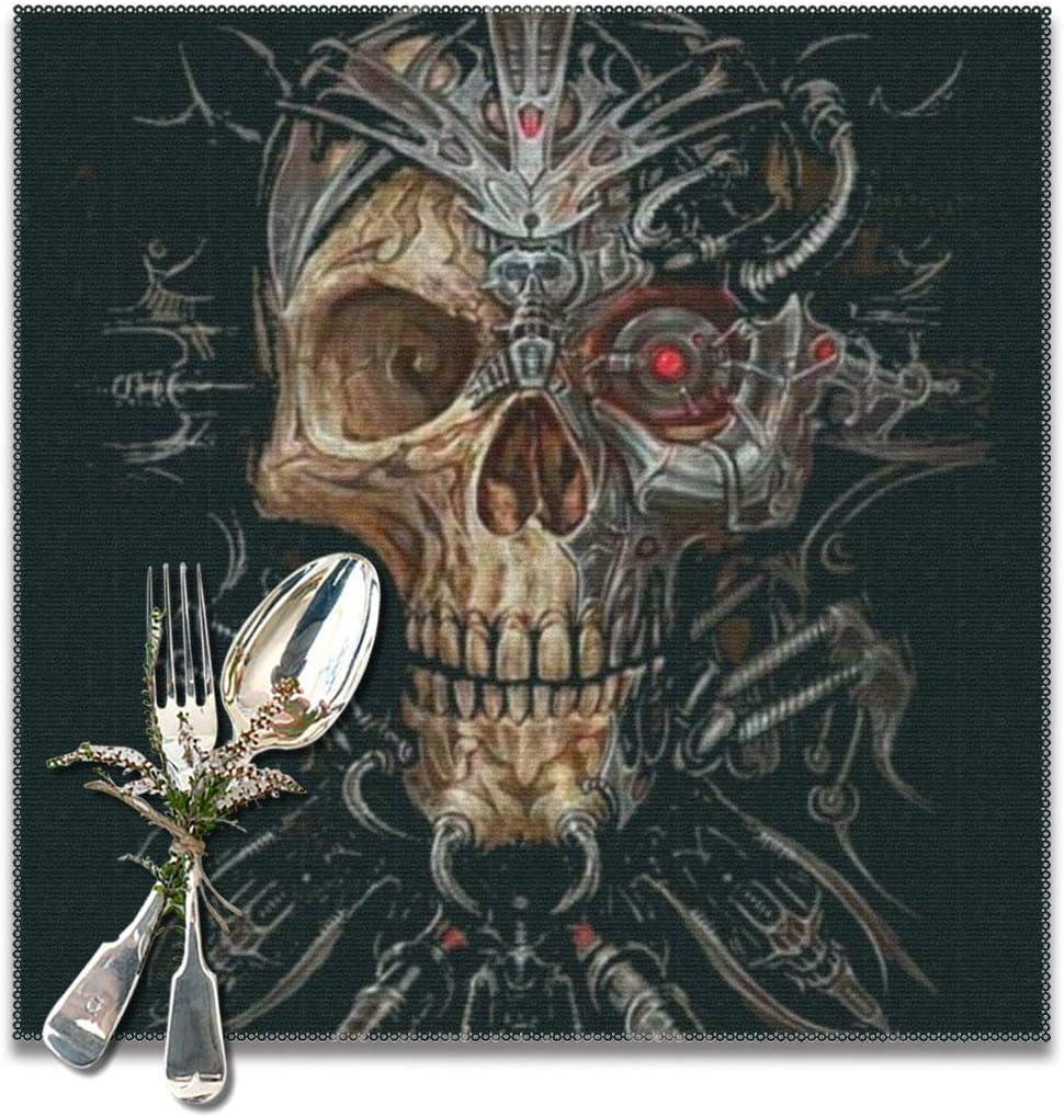 Skull Pet Placemat ReversibleAbsorbs waterBone shapedGift IdeasBlackWhite skulls