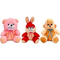 Babique Soft Toy Combo Plush Rabbit Monkey and Teddy for Kids, 25 cm