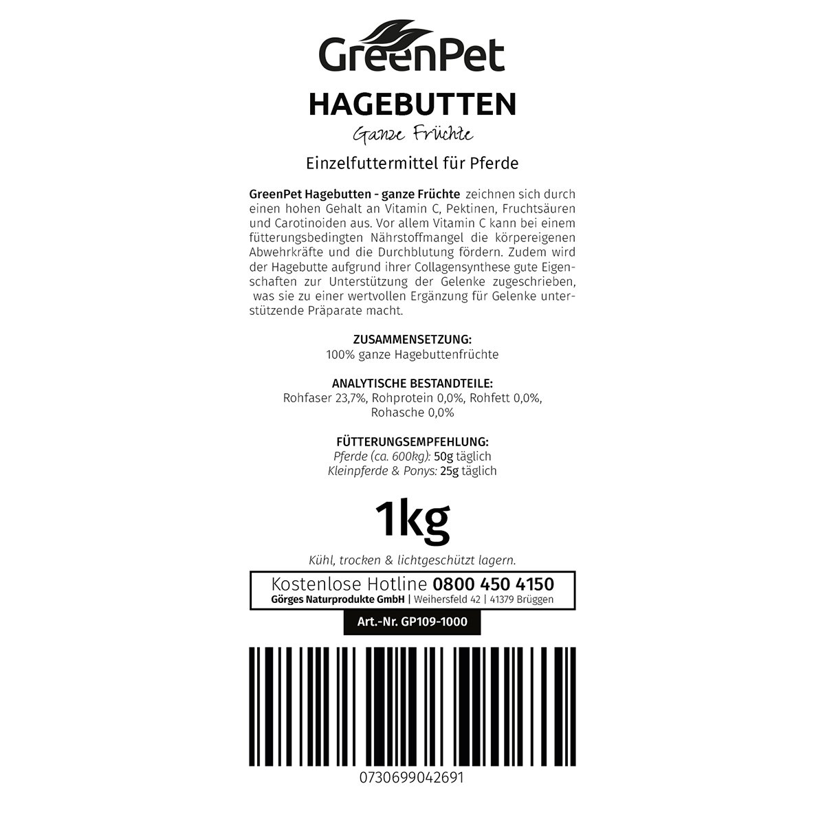 NaturaForte GreenPet Hagebutten ganze Früchte 1kg: Amazon.de: Haustier