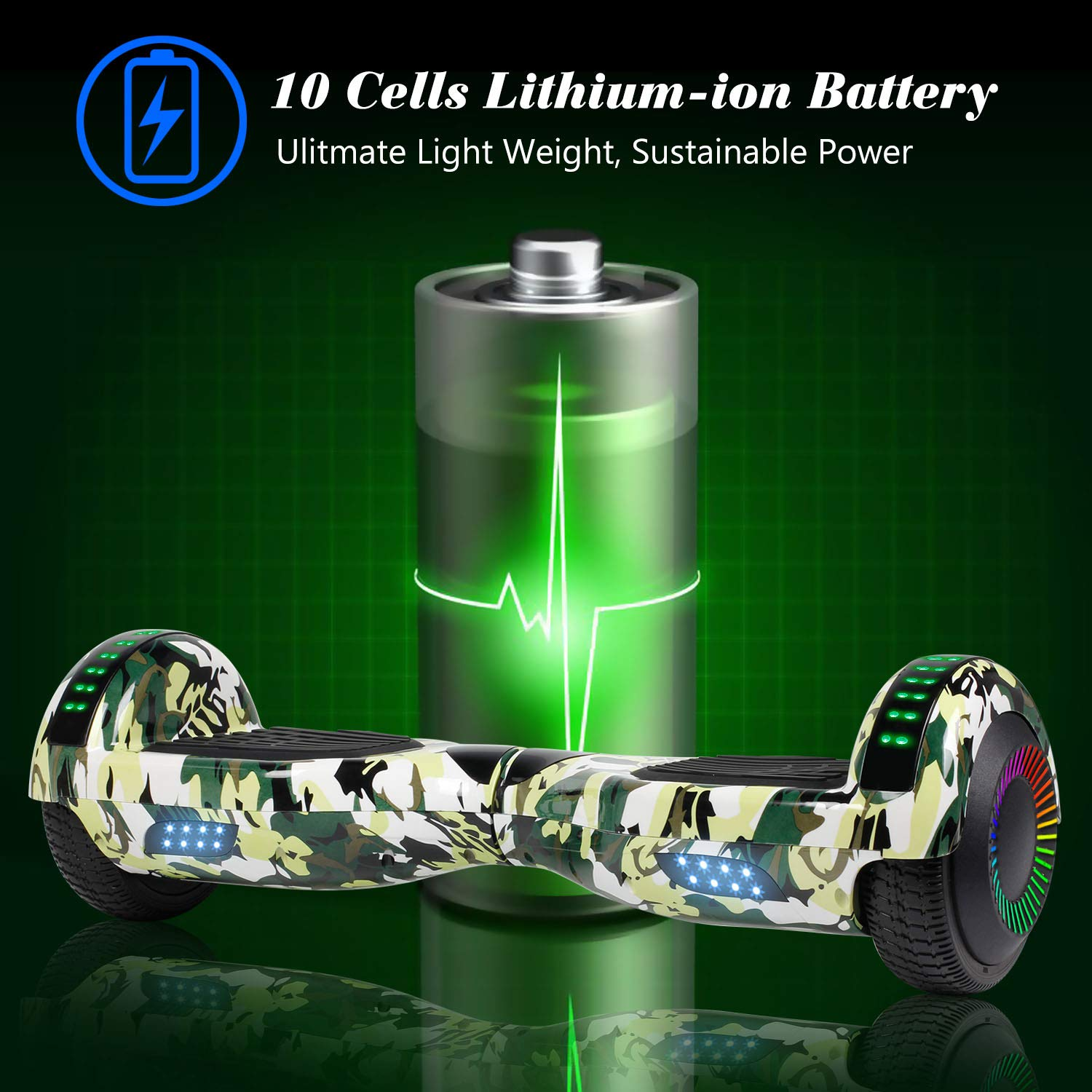Hoverboard Self Balancing Scooter 6.5'' Two-Wheel Self Balancing Hoverboard with Bluetooth Speaker and LED Lights Electric Scooter for Adult Kids Gift UL 2272 Certified Fun Edition - Woodland Camo by SISIGAD (Image #3)