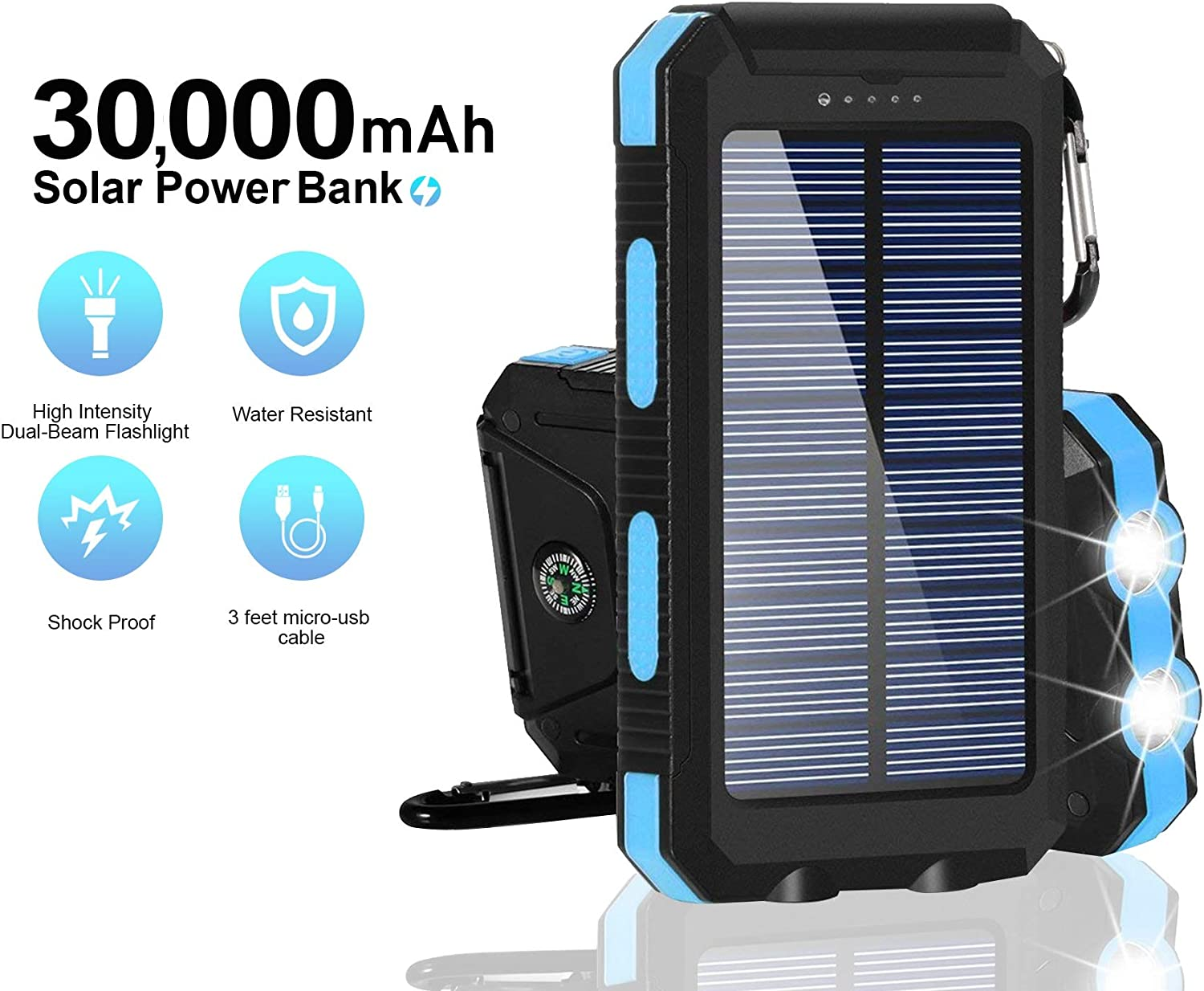 Solar Chargers 30,000mAh, Dualpow Portable Dual USB Solar Battery Charger External Battery Pack Phone Charger Power Bank with Flashlight for Smartphones Tablet Camera (Orange/Black B) (Baby Blue)