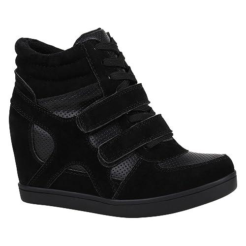 separation shoes ef0b1 2317a Stiefelparadies Damen Sneaker Wedges mit Keilabsatz Metallic Glitzer  Flandell