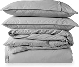 Bare Home 100% Organic Cotton Duvet Cover Set - Crisp Percale Weave - Lightweight & Breathable (Full/Queen, Light Grey)