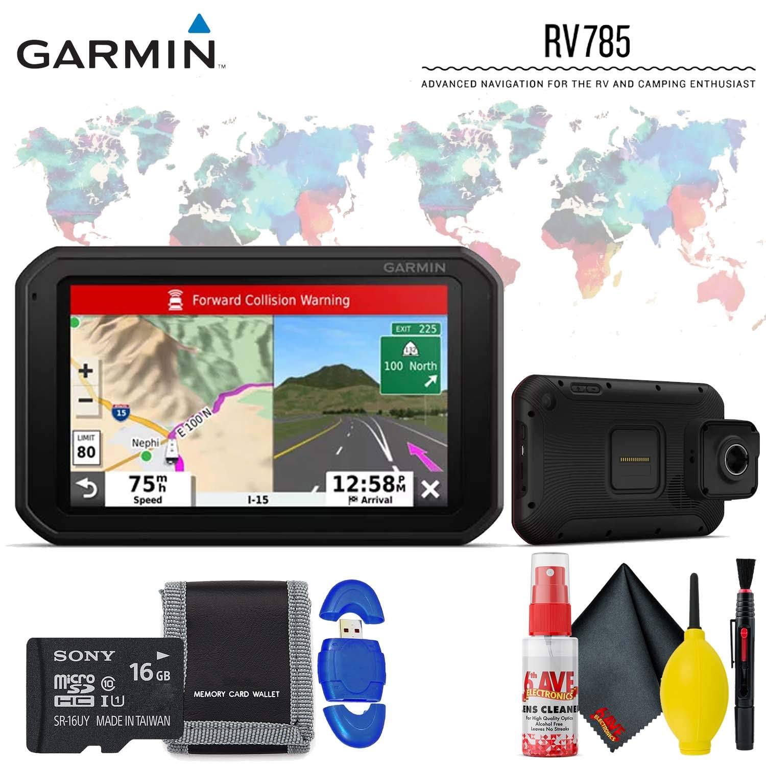 Garmin RV 785 & Traffic, Advanced GPS Navigator for RVs with Built-in Dash Cam, 7'' Touch Display and Voice-Activated Navigation Standard Accessory Kit by Garmin
