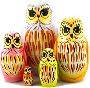 Owl Art Toy - Russian Nesting Dolls Owl Decorations for Home Shelf Decor Accents - Wood Owl Statue Medium Size Set 5 Pcs - Owl Gifts Decor Figurines