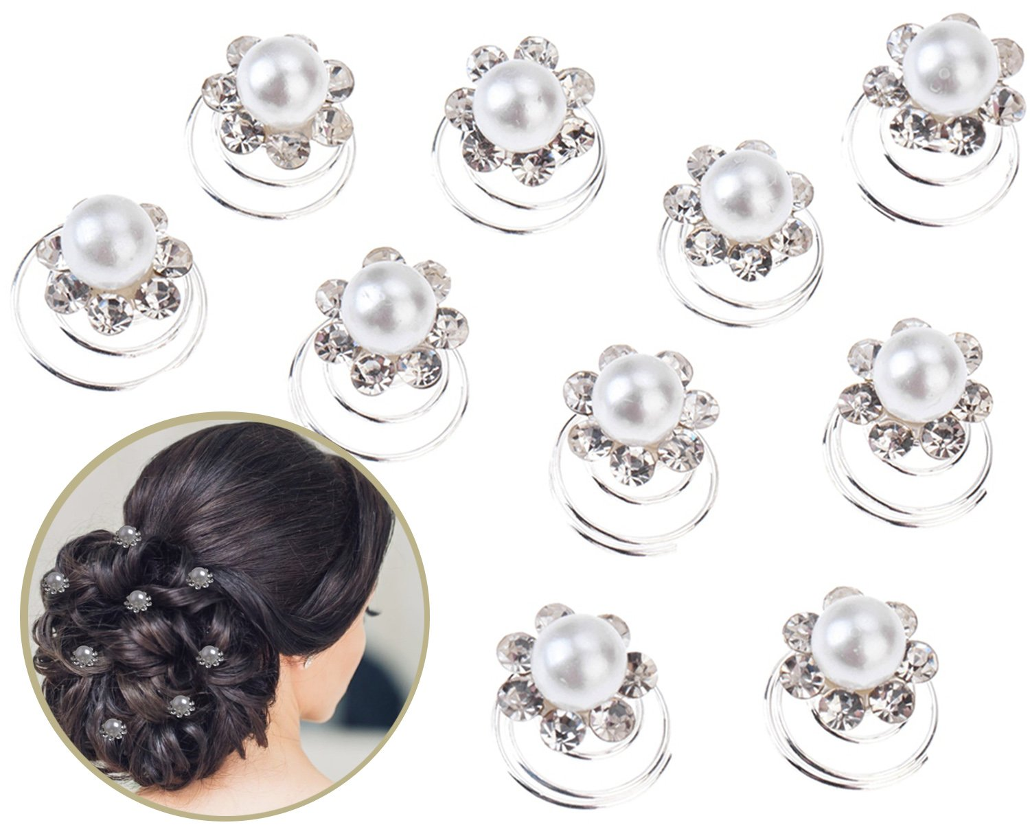 Fabulous Set of 10pcs Best Quality Silver Coloured Iron Spirals Hair Pins / Slides / Twists / Coils / Curlies / Wedding Brides Hairstyles Decorations With White Pearls And Clear Rhinestones Crystals Gemstones Flowers Shapes By VAGA®