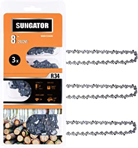 """SUNGATOR 3-Pack 8 Inch Chainsaw Chain SG-R34, 3/8"""" LP Pitch - .043"""" Gauge - 34 Drive Links, Compatible with Poulan, Remington and More"""