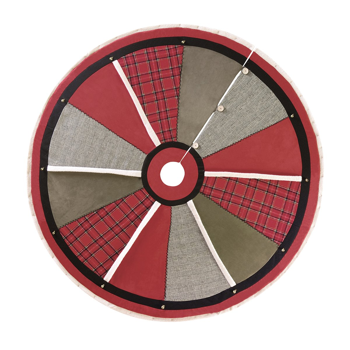 60'' North Woods Christmas Tree Skirt, Red Plaid, Neutrals, Rustic Style