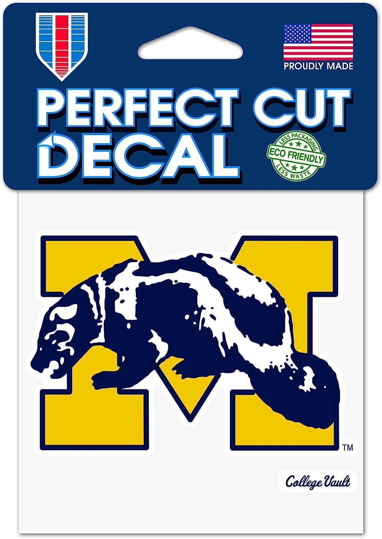 NCAA University of Michigan Wolverines Perfect Cut Decal 4 x 4 Mascot
