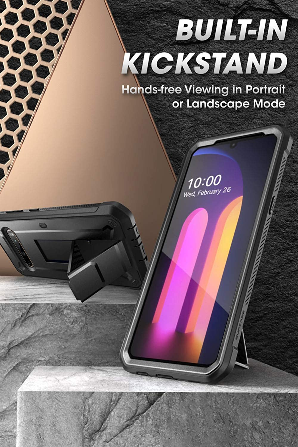 Black SupCase Unicorn Beetle Pro Series Case Designed for LG V60 ThinQ 2020 Release ,Full-Body Rugged Holster /& Kickstand Case with Built-in Screen Protector