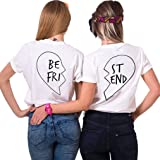 Minetom Femme Fille Été Meilleur Ami Manches Courtes Imprimé T-Shirt Tops Chic Col Rond BFF Haut Blouse Chemise Idée Cadeau Pour Amis