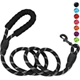 Petmegoo 5ft 1/2in Heavy Duty Black Dog Leash for Large Dogs & Medium Size Dogs - Highly Reflective Heavy Duty Dog Rope Leash