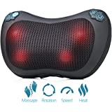 HemingWeigh Shiatsu Neck Massager, Back Massage Pillow for Deep Kneading Heat Massage With 4 Rollers, Adjustable Speed & Heating Features, Relieve Pain & Strained Muscles