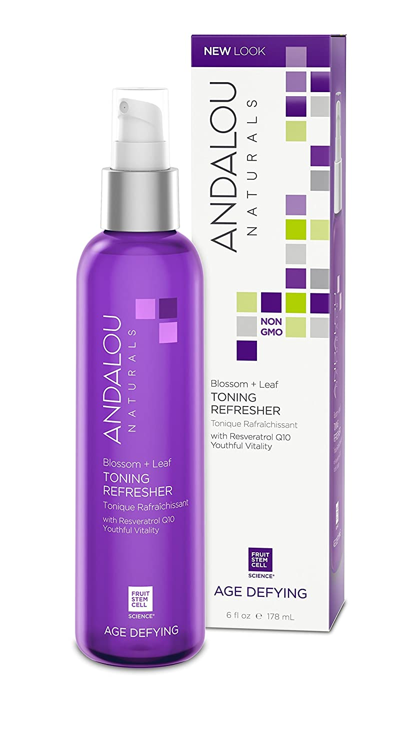 Andalou Naturals Blossom + Leaf Toning Refresher, 6 oz, Balances pH Levels, Hydrates, and Soothes Irritated, Dry Skin, Contains Aloe Vera, Geranium, and Orange Leaf