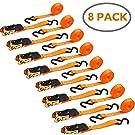 Ohuhu Paquet de 8 sangles à cliquet orange, attaches à cliquet, sangles logistiques - 15 pieds - chapeau Loatd de 500 lb sangles cargo pour équipement de jardin, appareils de déménagement, moto