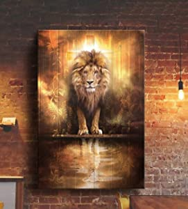 Jesus Gorgeous Lion Jesus and Lamb Water Reflection Poster, Home Decor, Wall Art 12x18, 16x24, 24x36'' No Frame