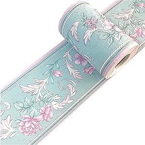 Taamall Simplemuji Green PVC Self Adhesive Vintage Rose 3D Waterproof Wall Pink Border Decor Removable Kitchen Bathroom Tiles Stciker 4x196.8 inch