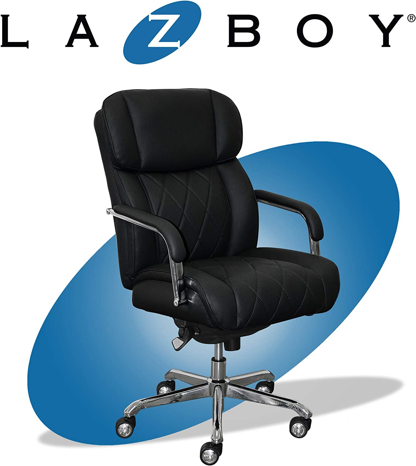 La-Z-Boy Sutherland Quilted Leather Executive Office Chair with Padded  Arms, High Back Ergonomic Desk Chair with Lumbar Support, Black Bonded  Leather