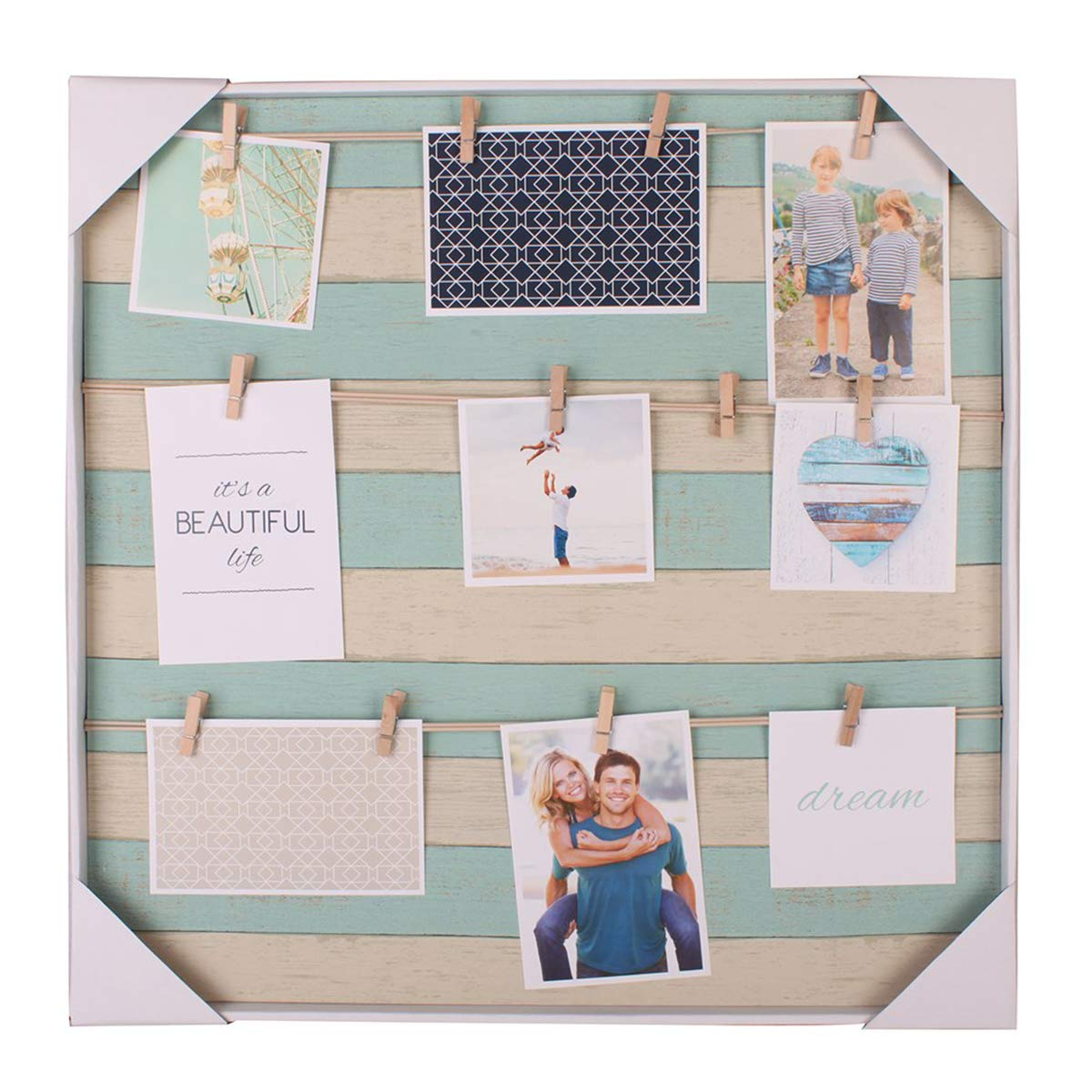 HANTAJANSS Clip Photo Holder, Photo Collage Frame, Large Picture Display Frame with 12 Wood Clothespin Clips for Hanging Home Decoration 20 ×20 inches Light Blue by HANTAJANSS