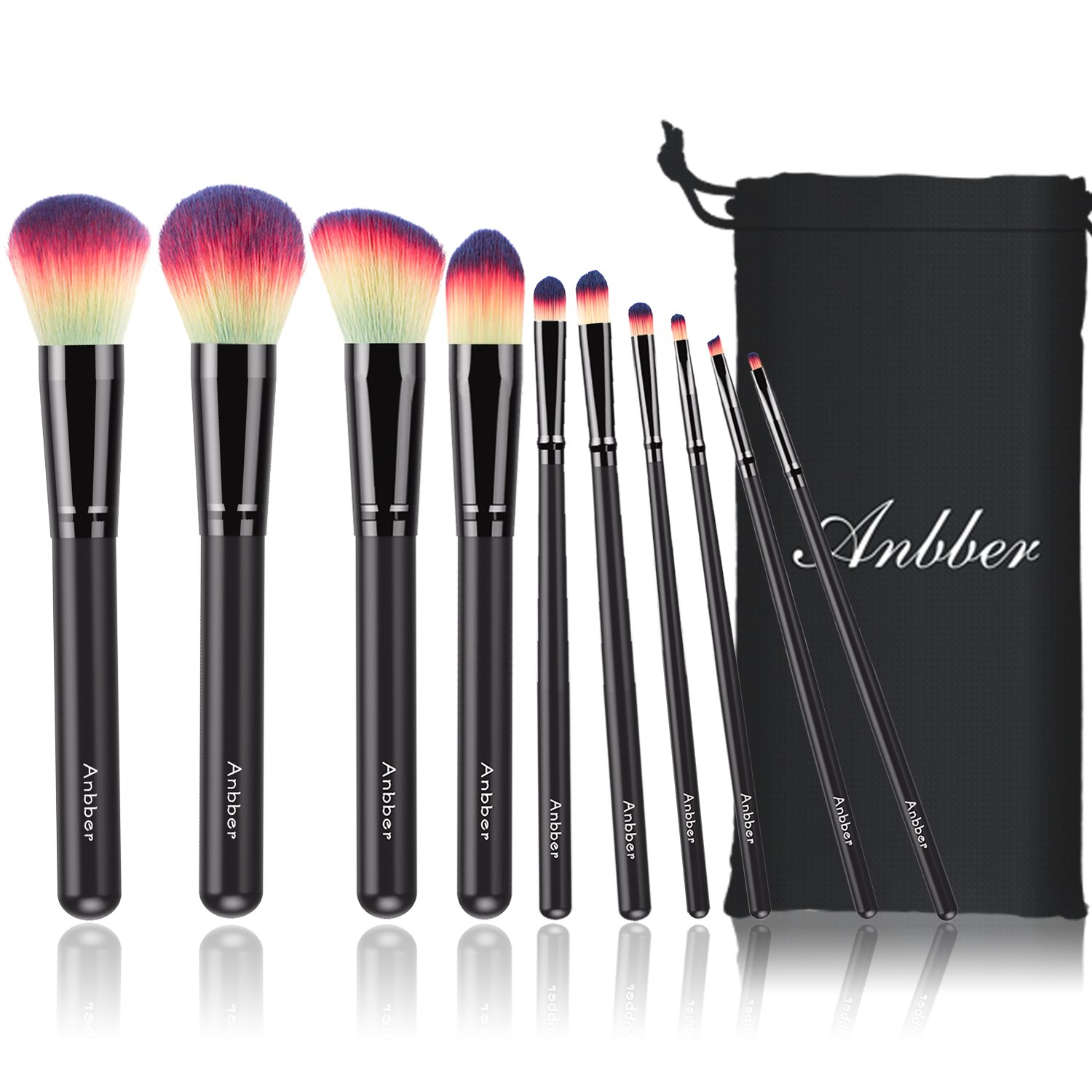 Makeup Brush Sets Kit Anbber 10Pcs Makeup Brushes with Makeup Organizer Bag Blush Foundation Concealer Contour Eyeliner Eye Shadow Powder Lip Brush AB-MB003