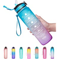 Venture Pal 32oz Motivational Fitness Sports Water Bottle with Time Marker & Straw, Large Wide Mouth Leakproof Durable…