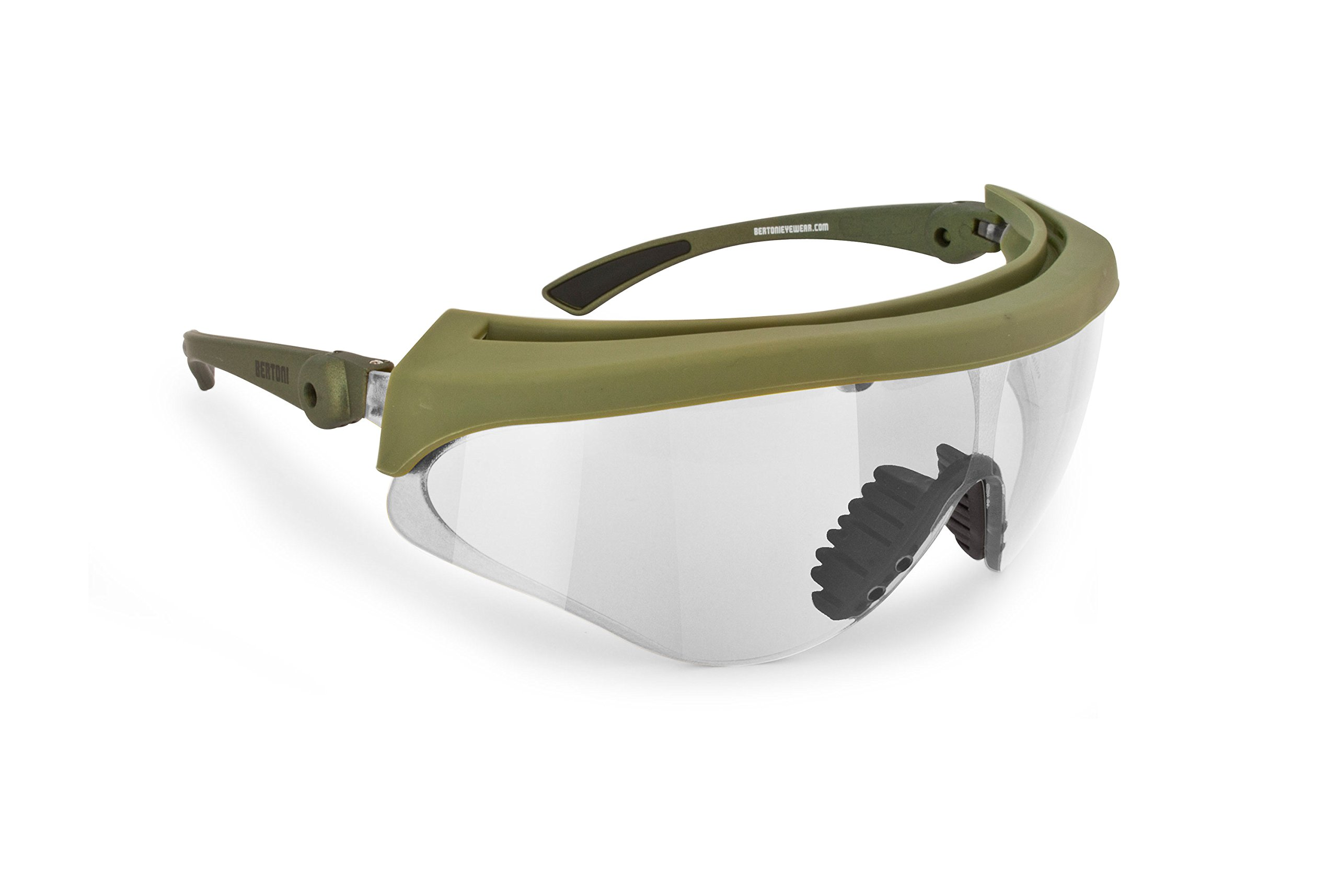 Bertoni Shooting Glasses Shatterproof and Antifog Lens - Adjustable Lens' Angle - AF869 by Italy - Tactical Safety Protective Glasses (Clear Lens)