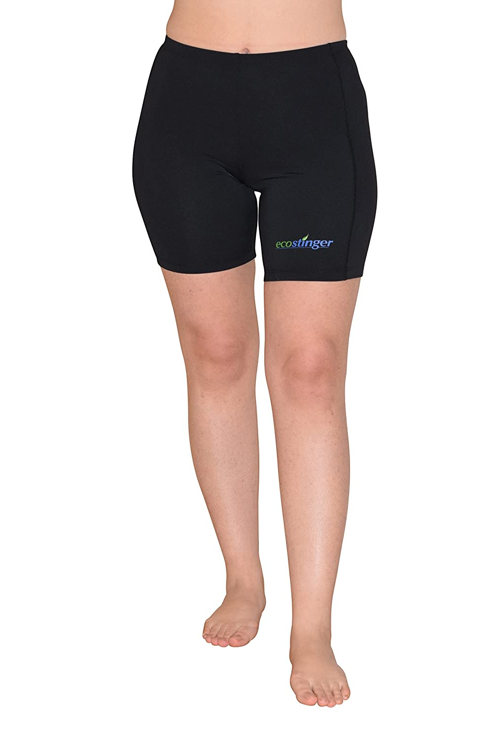 EcoStinger Women Swimming Shorts Above Knee Length Sun Protection UPF50+ Black A401-BLA