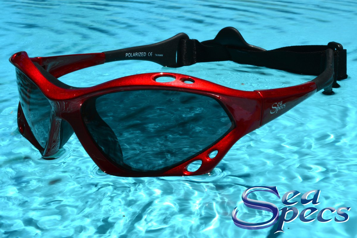SeaSpecs Classic Sunfire Specs Red Extreme Water Sports Floating Sunglasses w Semi Rigid Case Bundle (5 Items)+ Flex Clip Case + Soft Carry Pouch + Lens Cloth +WindBone Kiteboarding Lifestyle Stickers by SeaSpecs, FlexClip, WindBone