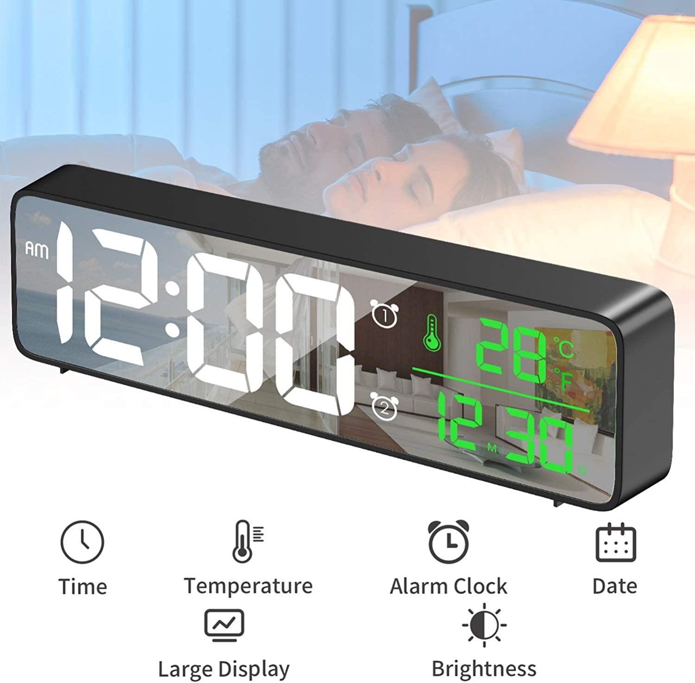 HOTERB Reloj Despertador Digital con Espejo, Reloj Despertador extralargo para Mesa de Escritorio con Fecha de Temperatura, Pantalla de Fuente Grande, alimentación de Red (Negro)
