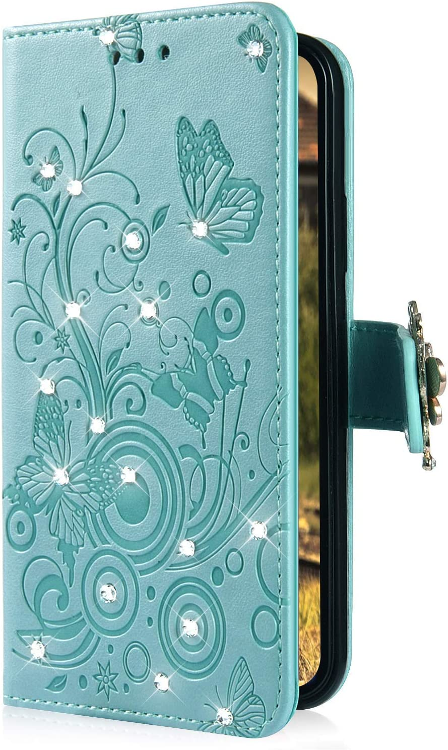 IKASEFU Shiny butterfly Rhinestone Emboss blossom Floral Pu Leather Diamond Bling Wallet Strap Case with Card Holder Magnetic Flip Cover Case Compatible with iPhone 7 plus//8 plus,Green