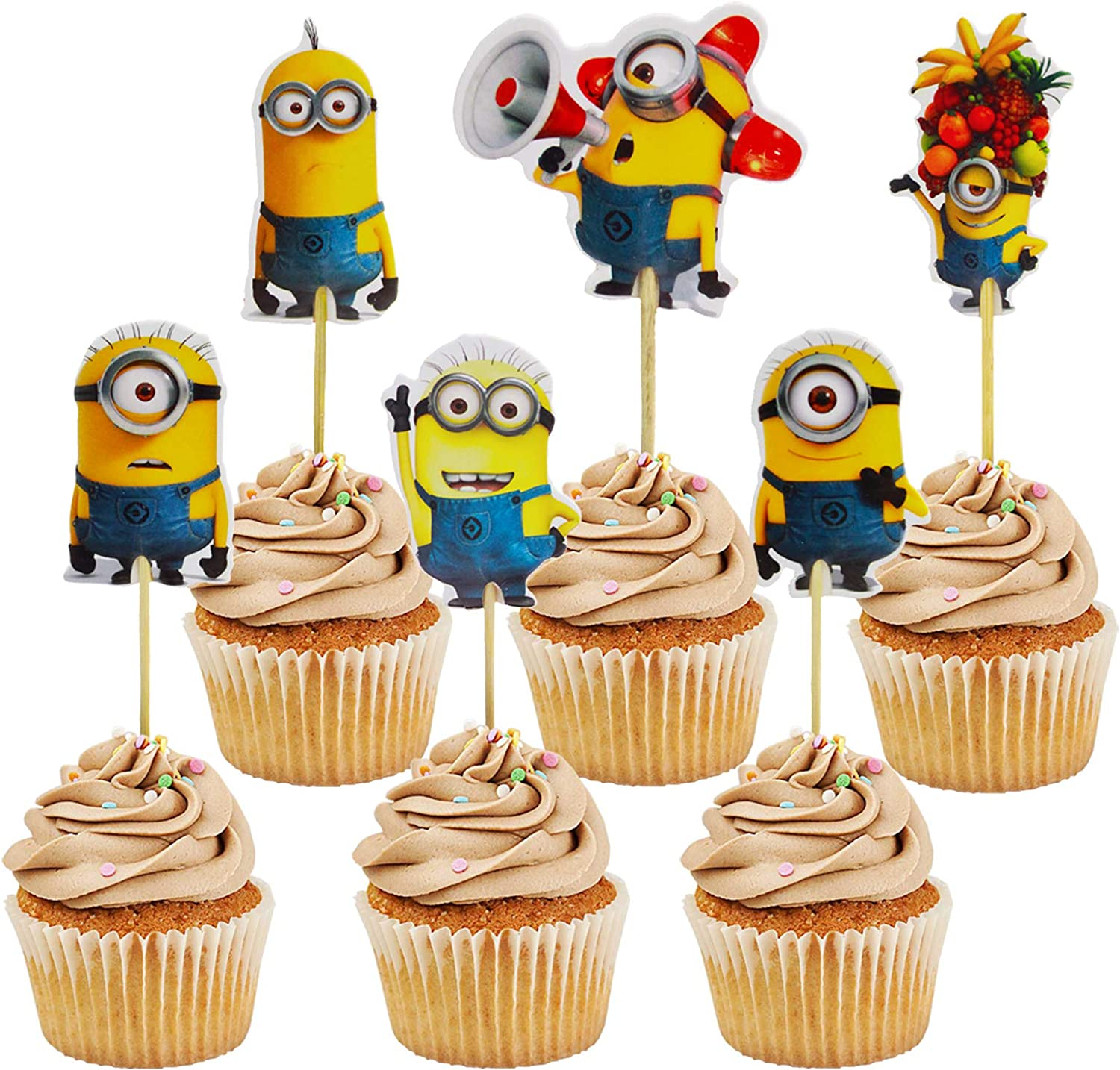 Minions birthday Cupcake Toppers decorations ,Minions Theme Party Decorations Favors supplies(Minions-Set of 48)