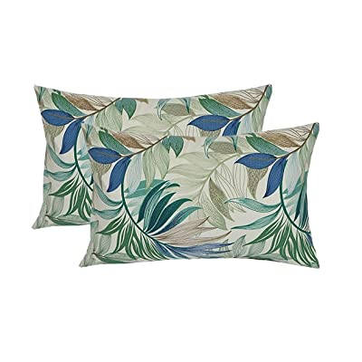 "Resort Spa Home Decor Set of 2 Indoor/Outdoor Decorative Lumbar/Rectangle Pillows - White, Blue, Teal, Green, Tan Tropical Palm Leaf Fabric - Choose Size (12"" x 20"") : Garden & Outdoor"