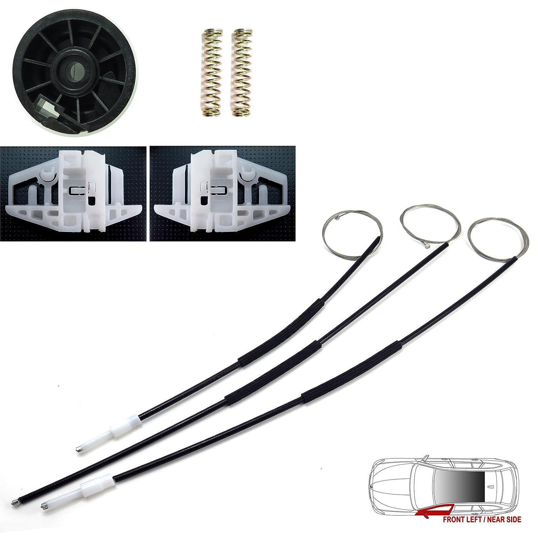 LTS Kit de réparation pour lève-vitre électrique Avant gauche, côté passager pour véhicule avec conduite à droite Câbles de régulation de vitre, clips, poulie (Compatibilité avec vé