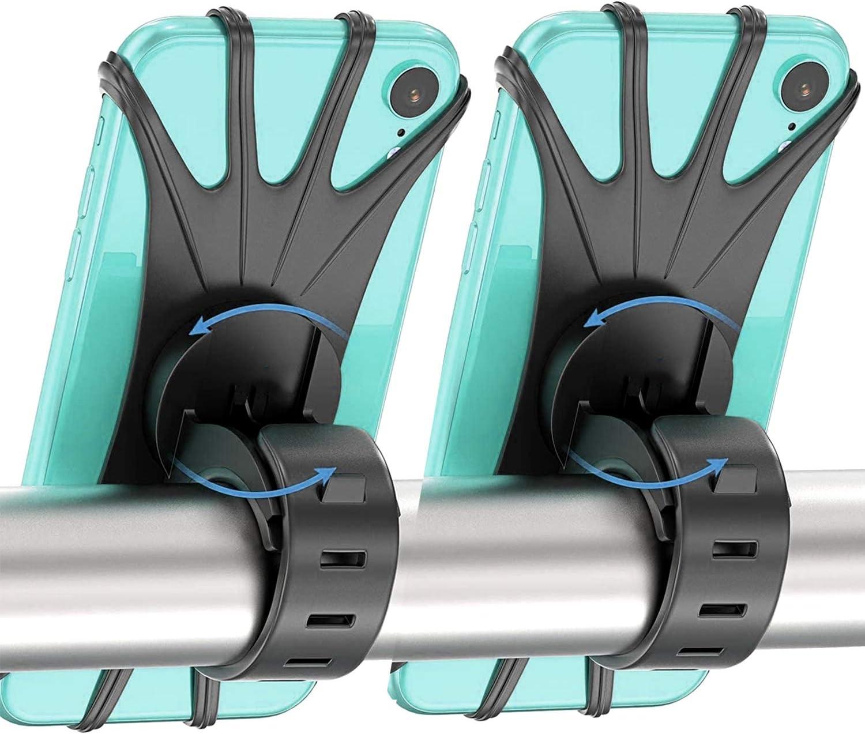 Bike Phone Holder 2 Pack, 360°Rotation Bike Phone Mount, Anti Shake Silicone Bicycle Phone Holder, Universal Handlebar Stand for iPhone 11 Pro Max/X/XS MAX/XR/8/8 Plus, Samsung S20/S10/S10e …