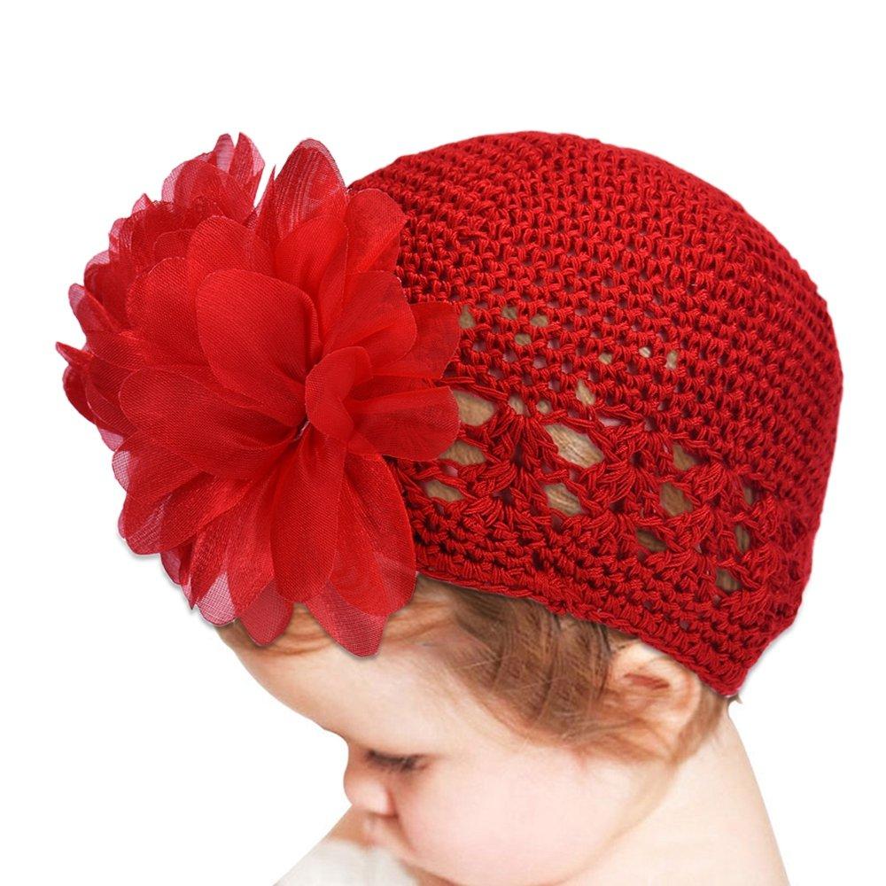 Merssavo Red Baby Girl Infant Flower-Headband Hair Band Toddler Hair Accessories Headwear Hat