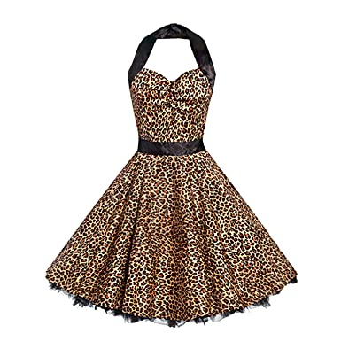d402c884f4 Vintage Halter Dress Women Sleeveless A Line Strapless Backless Leopard  Print Sexy Ankle-Length Dress