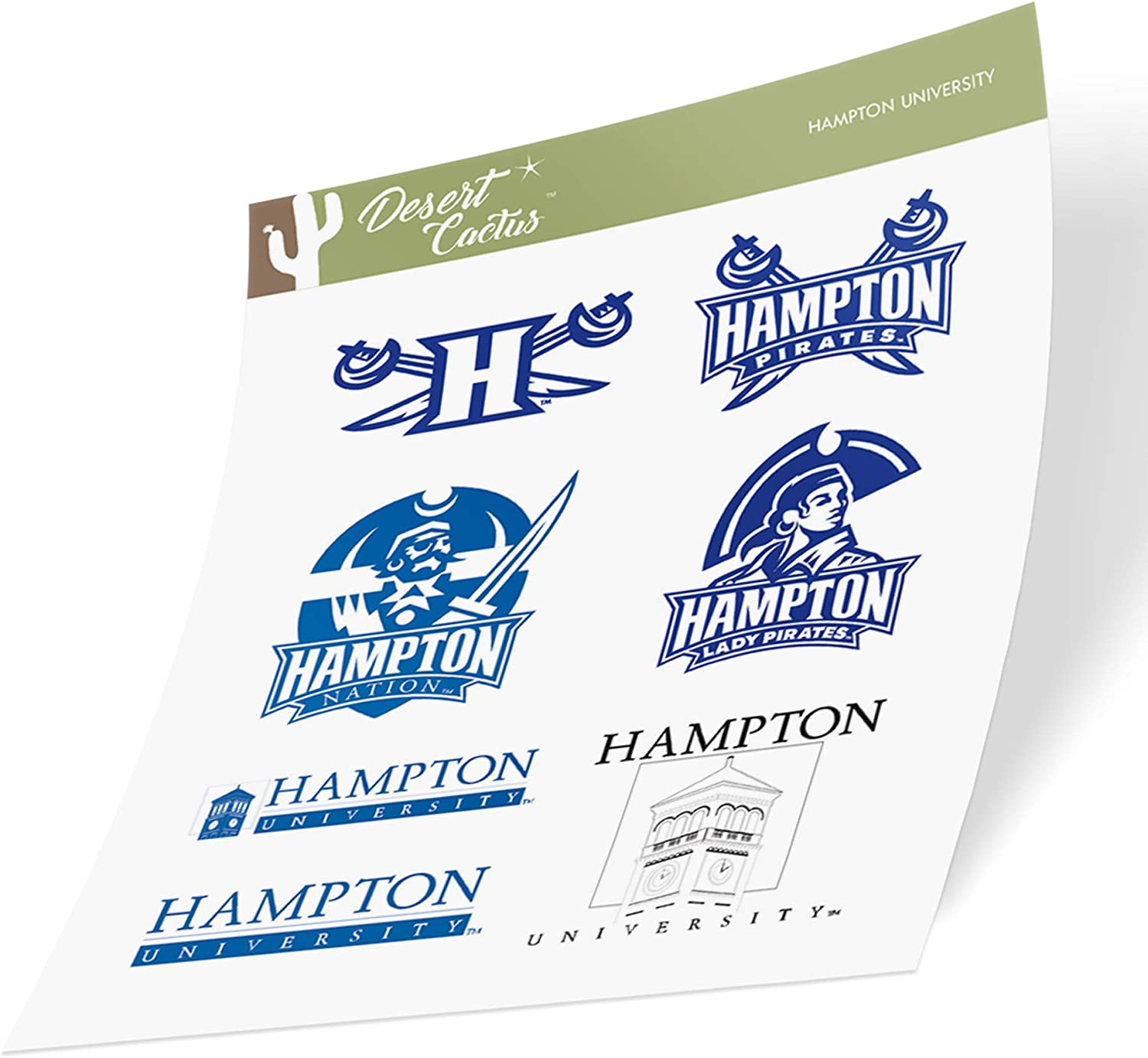 Hampton University HBCU Virginia Pirates NCAA Sticker Vinyl Decal Laptop Water Bottle Car Scrapbook (Type 2 Sheet)
