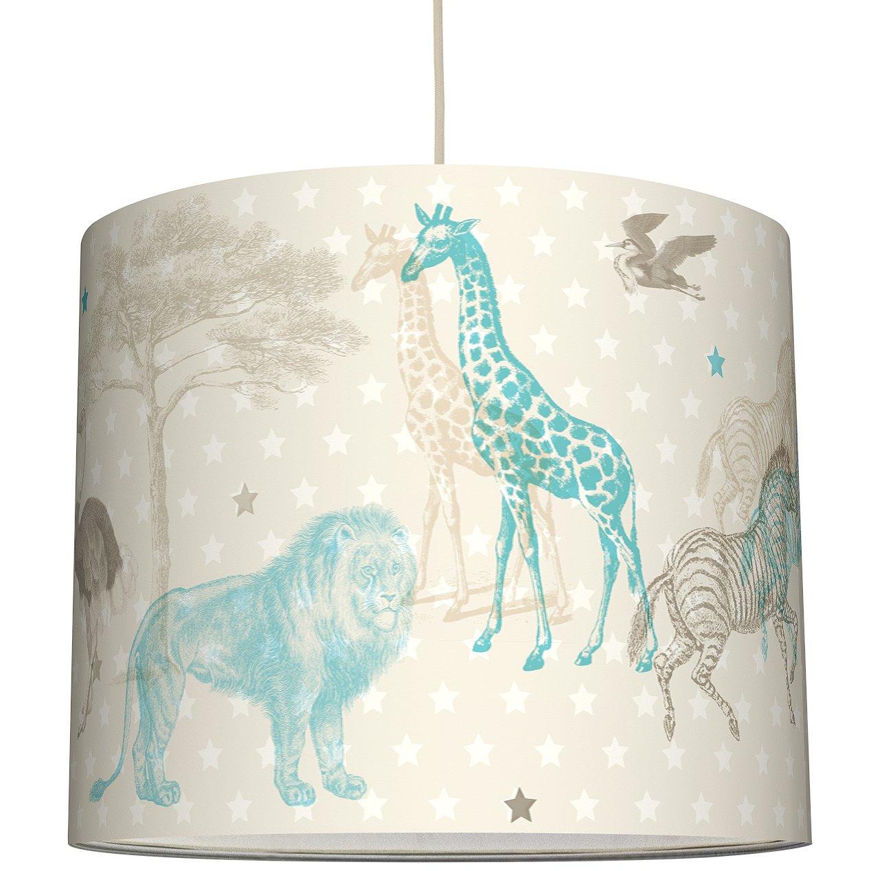 Anna wand Lampenschirm AFRICAN ANIMALS – Schirm für Kinder Baby Lampe mit Tieren der Steppe in versch. Farben – Sanftes Licht für Tisch-, Steh- & Hängelampe im Kinderzimmer Mädchen & Junge