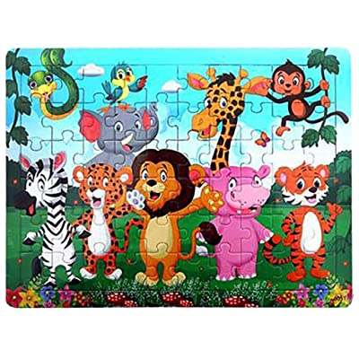 Binory Wooden Cartoon Anime Story Jigsaw Puzzles for Kids 60 Pieces, Fun Challenge IQ Developmental and Intelligence Educational Toys Brain Game Birthday Gift for Children Boys Girls-Zoo: Toys & Games