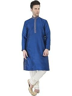 SKAVIJ Hombre Indio Tradicional Bordado Kurta Pijama Sherwani Verano Festivo de Bodas Fiesta Vestido